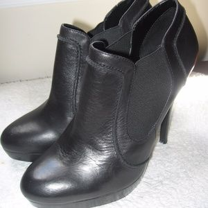 Aldo Black Leather Stiletto Booties Sz 8